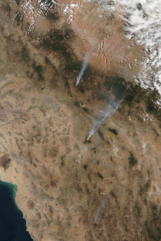 Incendios en Arizona (seguimiento satelital de la tarde)