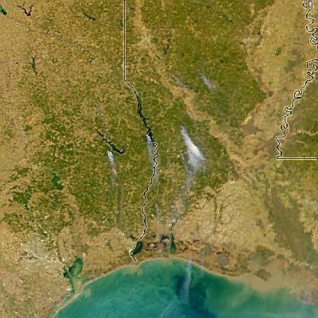 Incendios en Texas y Luisiana