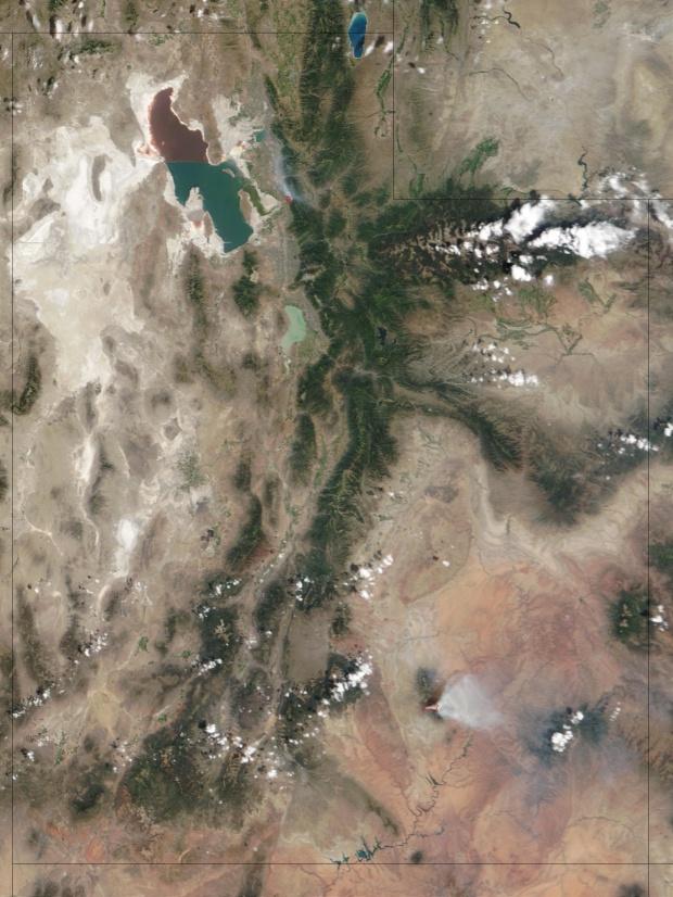 Incendios en Utah (seguimiento satelital de la mañana)