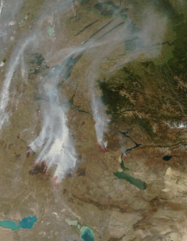 Incendios y humo en Kazajistán