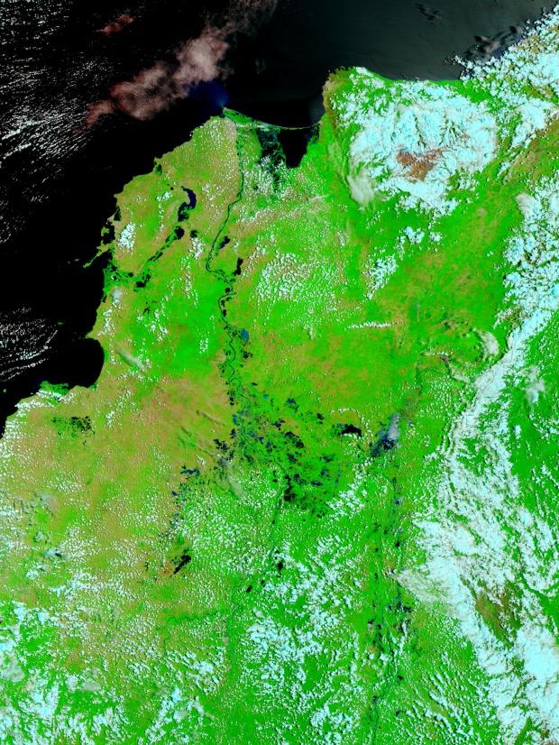 Inundaciones en Colombia (falso color)
