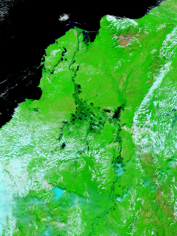 Inundaciones en el norte de Colombia (falso color)