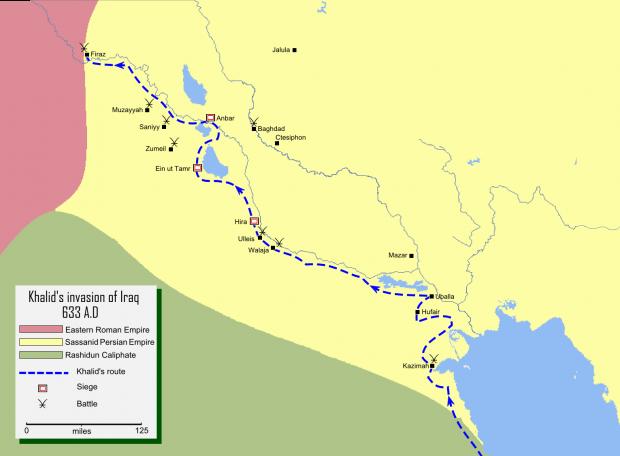 Iraq conquistado por Jalid ibn Walid en 633