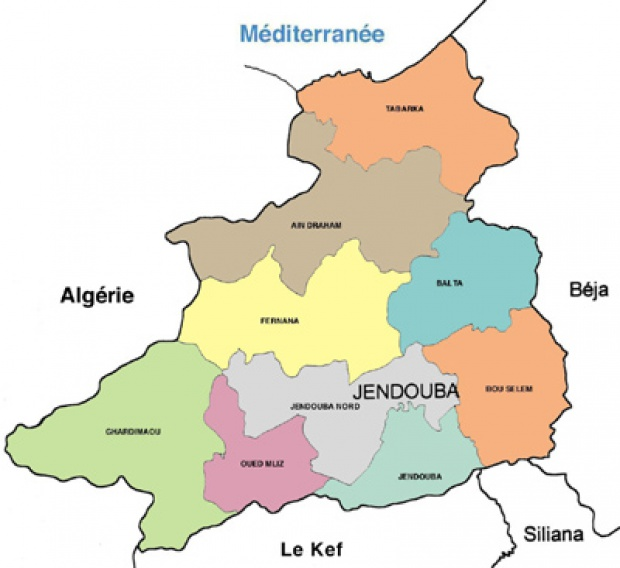 Jendouba Governorate Map, Tunisia
