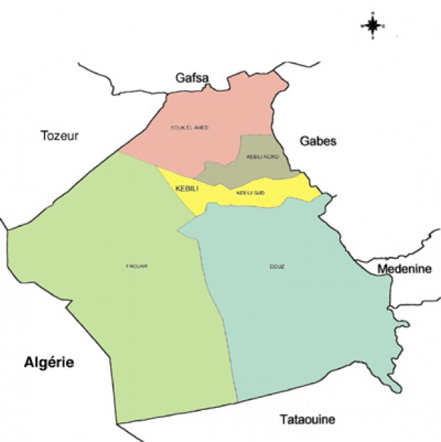Kébili Governorate Map, Tunisia