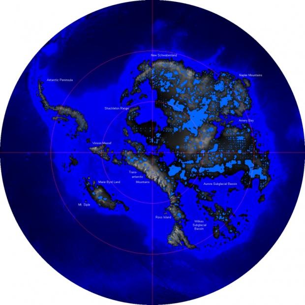 La Antártida sin la capa de hielo 2006