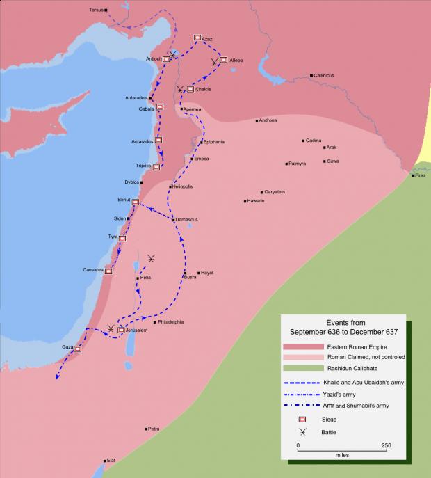 La invasión musulmana del norte de Siria 636-637