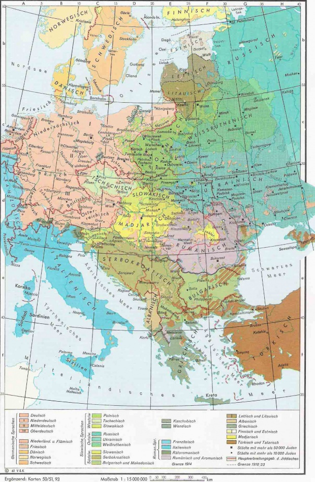 Lenguas en Europa Central y Oriental 1910