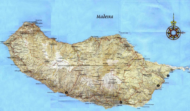 Madeira Island Topografic Map, Portugal