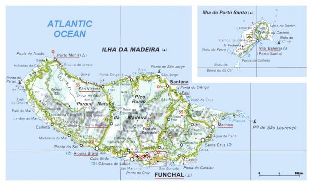 Madeira & Porto Islands Map, Portugal