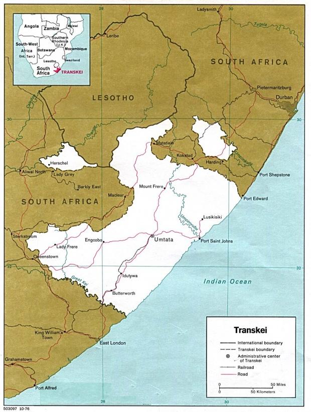 Map de Transkei 1978