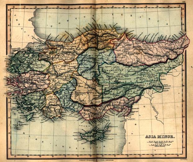 Mapa Antigua de Asia Minor 1849