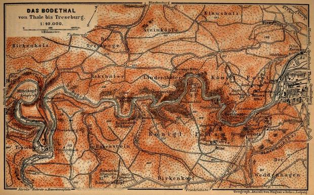 Mapa Bode-Tal, Alemania 1910