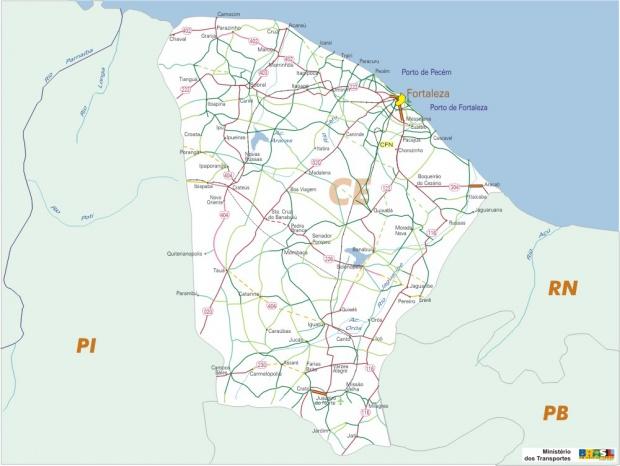 Mapa Carreteras Federales, Edo. de Ceará, Brasil