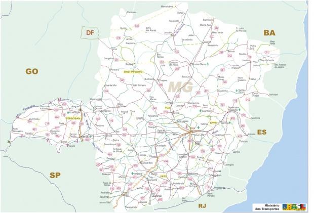 Mapa Carreteras Federales, Edo. de Minas Gerais, Brasil