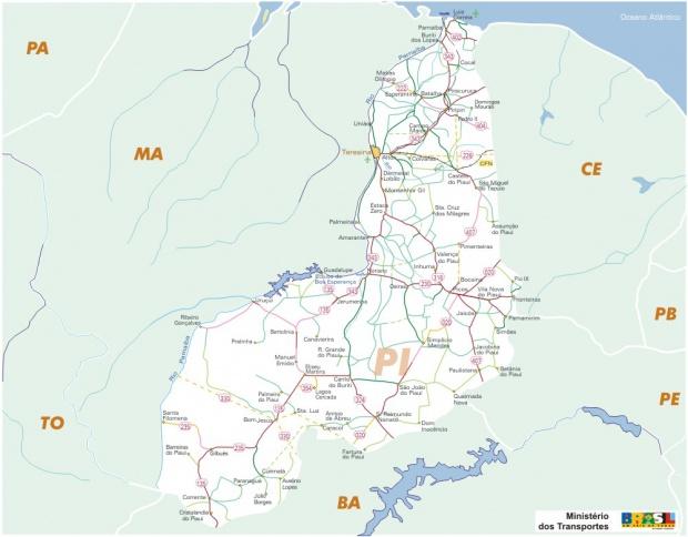 Mapa Carreteras Federales, Edo. de Piauí, Brasil