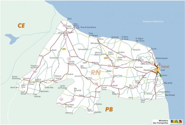 Mapa Carreteras Federales, Edo. de Rio Grande do Norte, Brasil