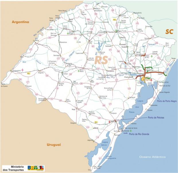 Mapa Carreteras Federales, Edo. de Rio Grande do Sul, Brasil