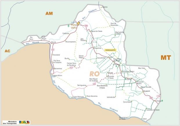 Mapa Carreteras Federales, Edo. de Rondônia, Brasil