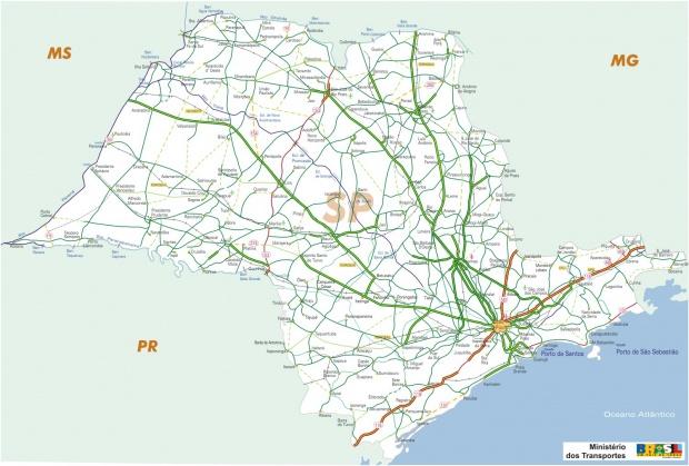 Mapa Carreteras Federales, Edo. de São Paulo, Brasil