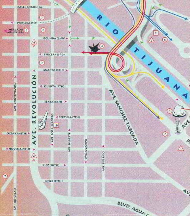 Mapa, Centro de Tijuana, Mexico