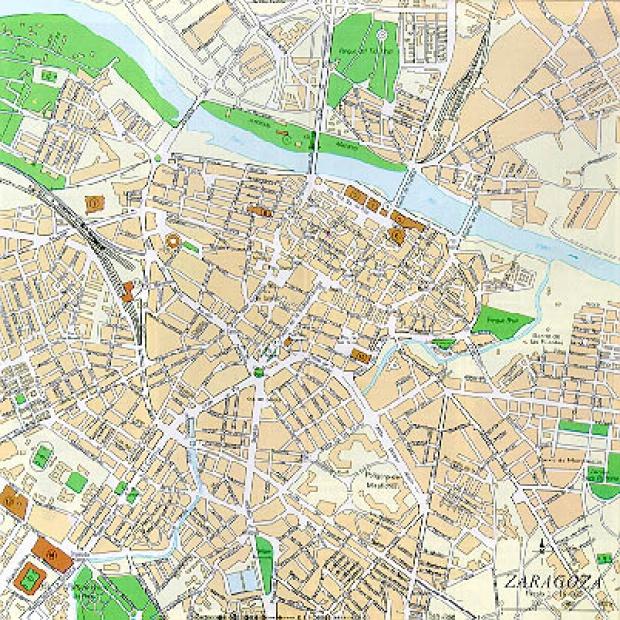 Mapa Ciudad Zaragoza, España