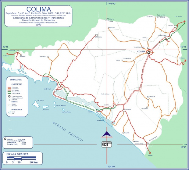 Mapa Colima (Estado), Mexico
