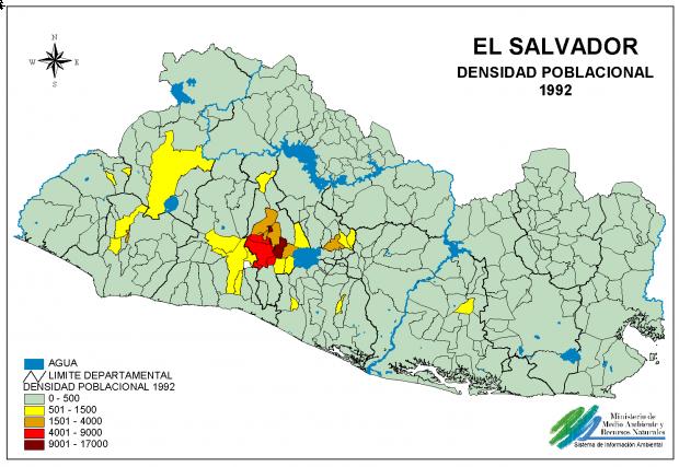 Mapa Densidad Poblacional de El Salvador
