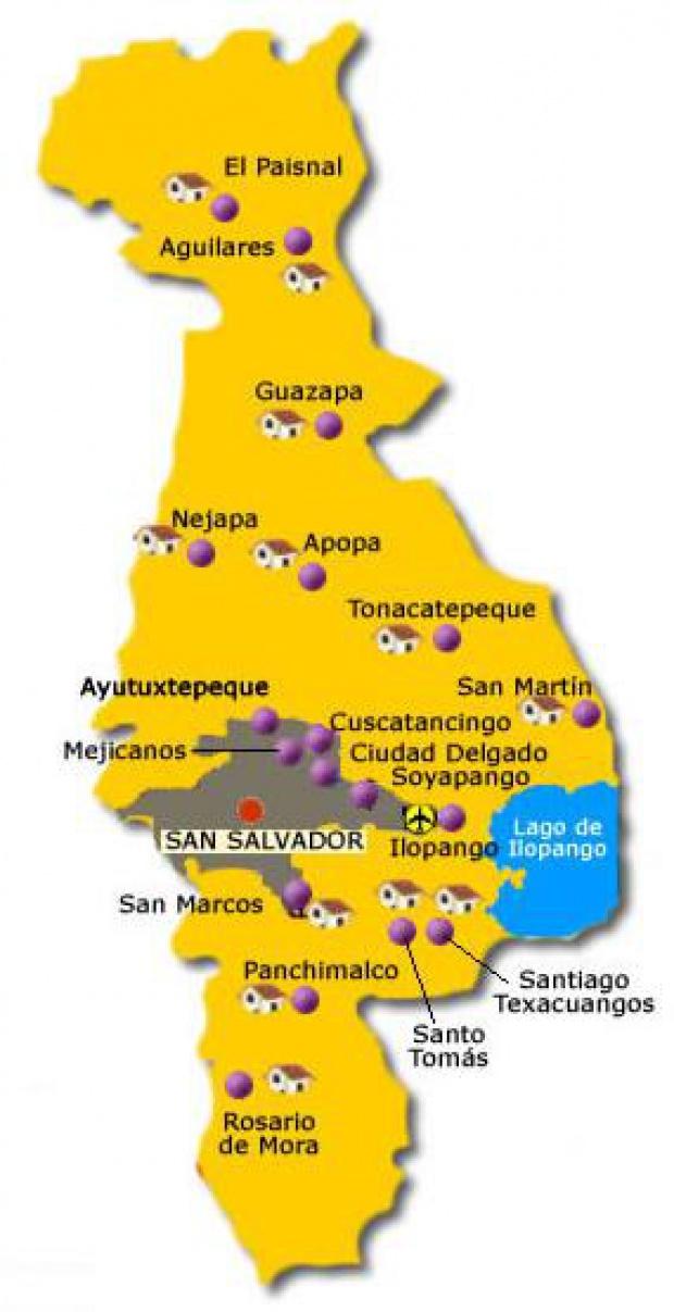 Mapa Departamento San Salvador, El Salvador