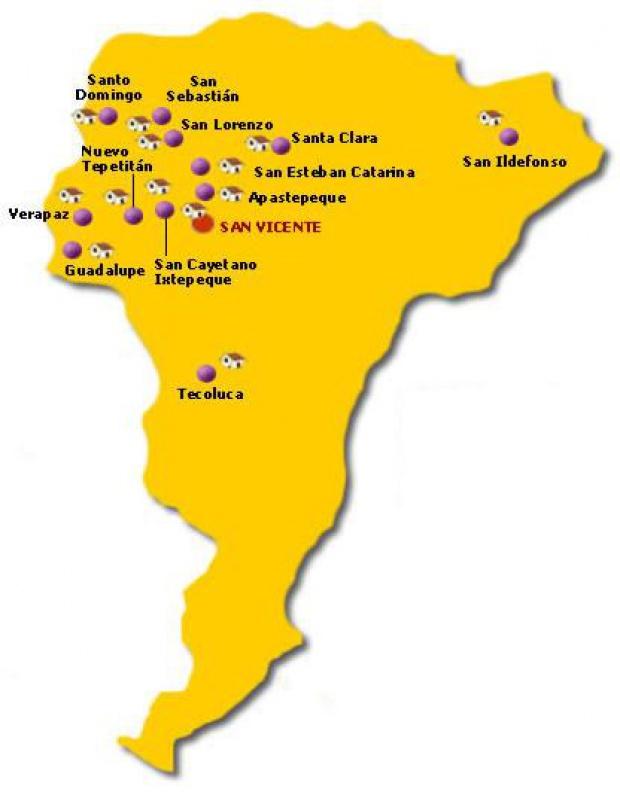 Mapa Departamento San Vicente, El Salvador