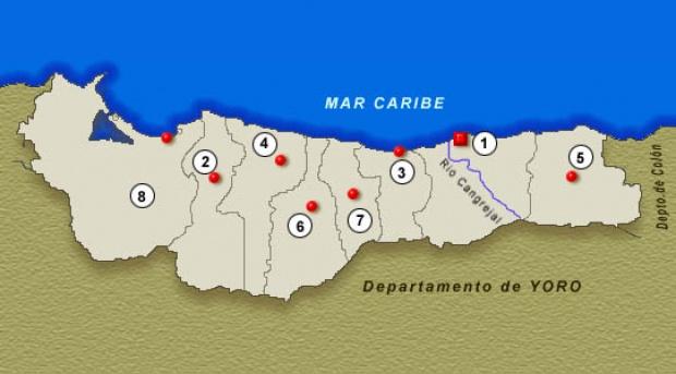 Mapa Departamento de Atlántida, Honduras