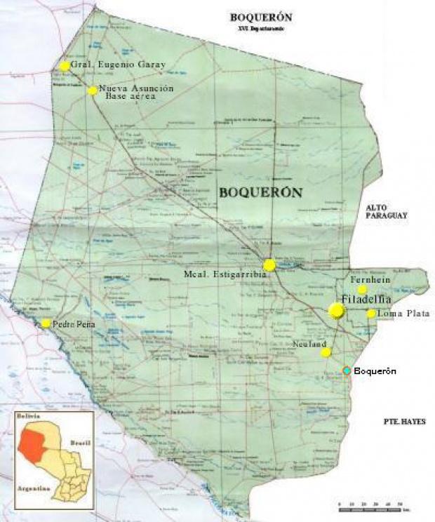 Mapa Departamento de Boquerón, Paraguay