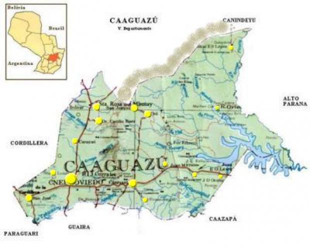 Mapa Departamento de Caaguazú, Paraguay