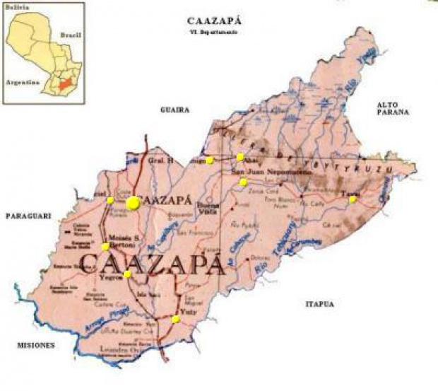 Mapa Departamento de Caazapá, Paraguay