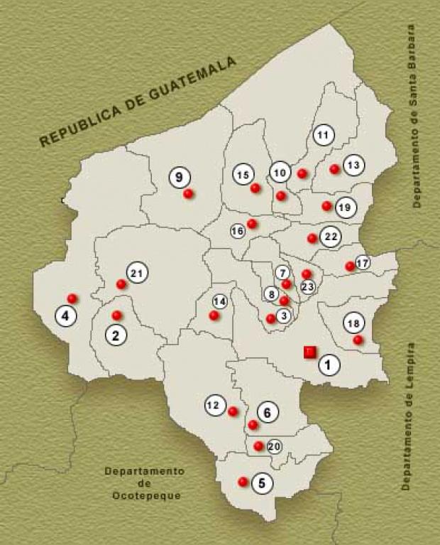 Mapa Departamento de Copan, Honduras