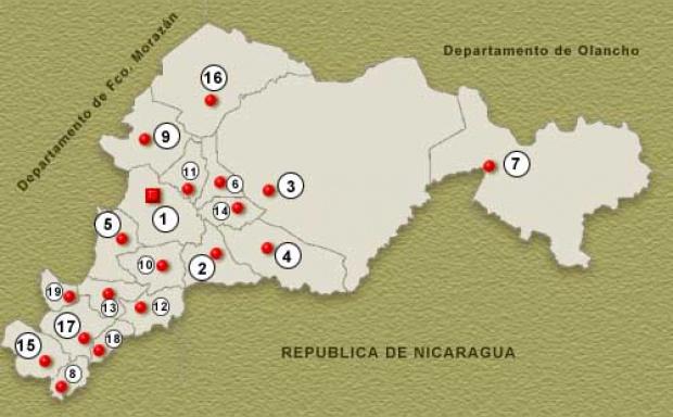 Mapa Departamento de El Paraiso, Honduras