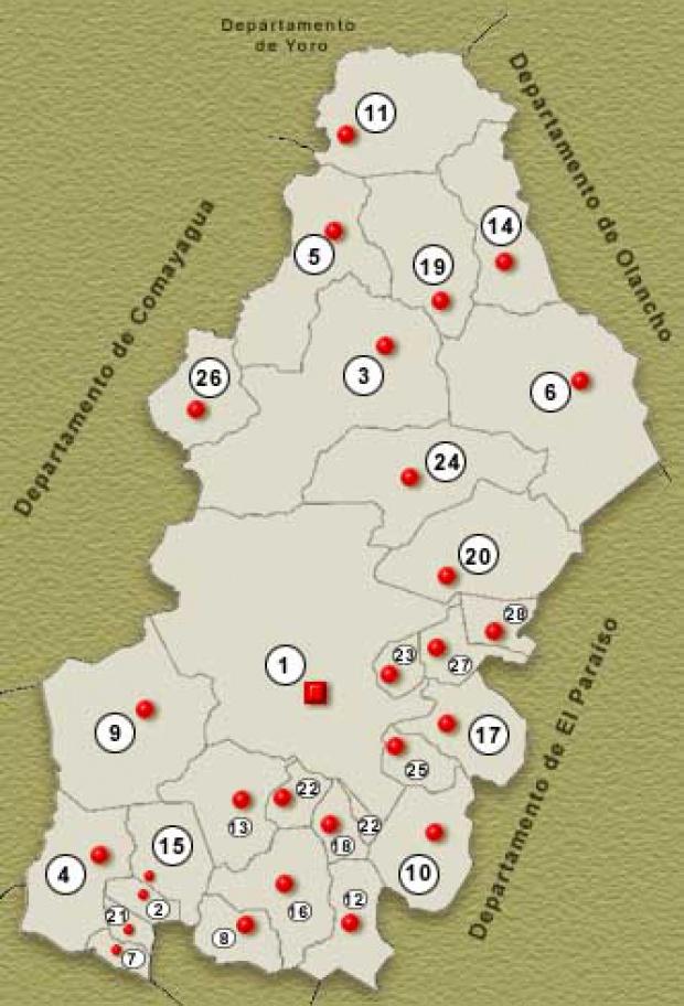 Mapa Departamento de Francisco Morazan, Honduras