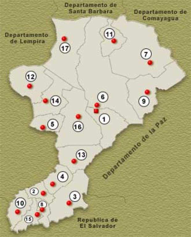 Mapa Departamento de Intibucá, Honduras