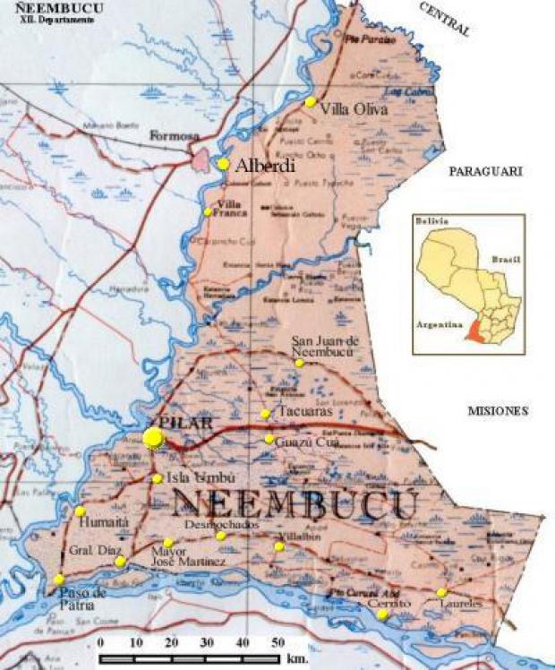 Mapa Departamento de Ñeembucú, Paraguay