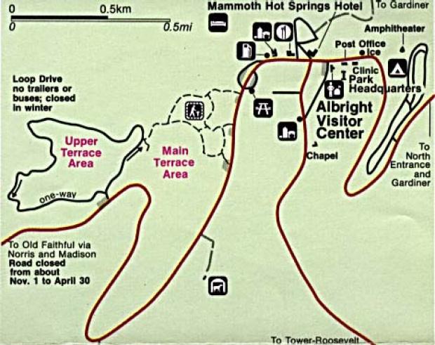 Mapa Detallado de Mammoth Hot Spring, Parque Nacional Yellowstone, Wyoming, Montana, Idaho, Estados Unidos