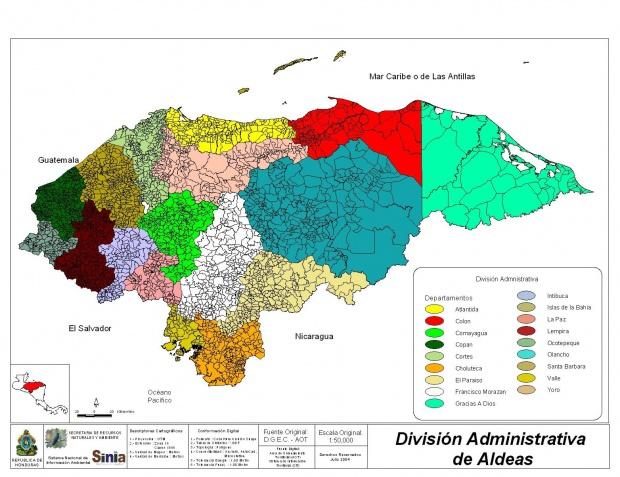 Mapa División Administrativa de Aldeas, Honduras