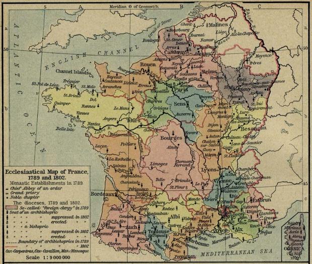 Mapa Eclesiástico de Francia, 1789 y 1802