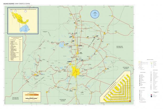 Mapa Estado de Aguascalientes, Mexico