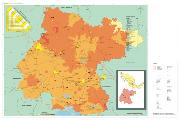 Mapa Estado de Guanajuato, Mexico
