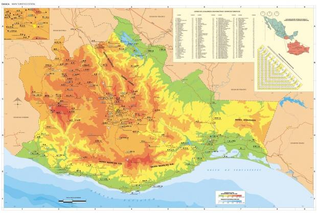 Mapa Estado de Oaxaca, Mexico