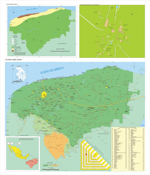 Mapa Estado de Yucatán, Mexico