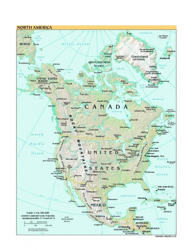 Mapa Físico de América del Norte 2007