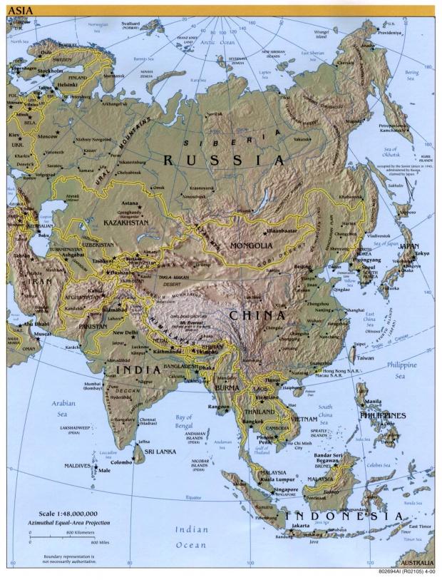 Mapa Físico de Asia 2000
