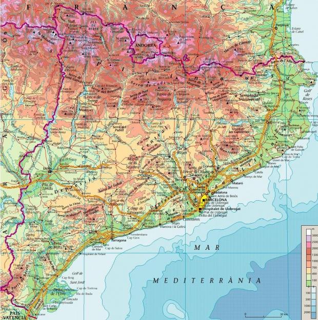 Mapa Físico de Cataluña