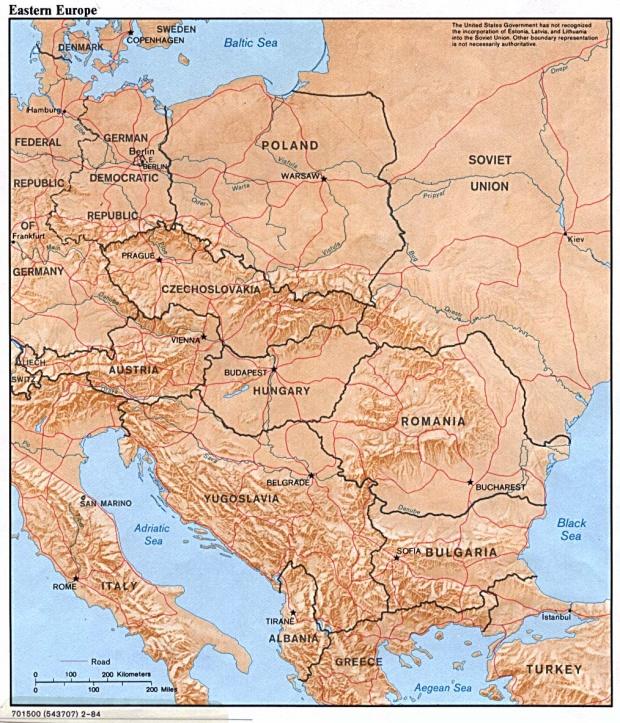 Mapa Físico de Europa Oriental 1984